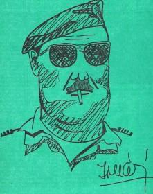 O Coronel Pára-quedista MÁRIO DE BRITO MONTEIRO ROBALO. (Caricatura da autoria do TEN/MIL João Miguéis)
