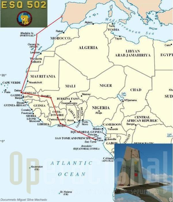 Esta foi certamente a última grande viagem de um AVIOCAR da FAP em África. O C-212-100 n.º 16521, saiu de S. Tomé em 160745FEV08, fez escalas em Abidjam, Bamako, Dakar, Las Palmas, Porto Santo e aterrou em Sintra em 201635FEV08.