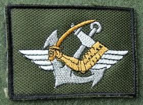 O distintivo do «pessoal apto a servir no DAE» na sua versão em pano, bordado, para uso no uniforme camuflado. (Col. do autor)