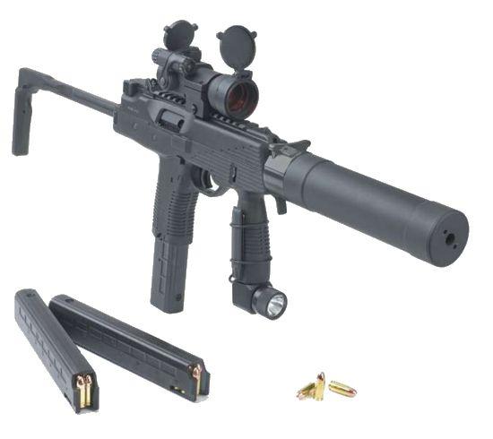 Principais caracteristicas:Calibre: 9x19mm Luger/Para; Peso: 1.3 kg sem carregador; Comprimento (coronha aberta/fechada): 523 / 303 mm; Comprimento do cano: 130 mm; Cadência de tiro: 900 tpm; Capacidade: 15, 20, 25 ou 30 munições; Alcance eficaz: 50 - 100 metros