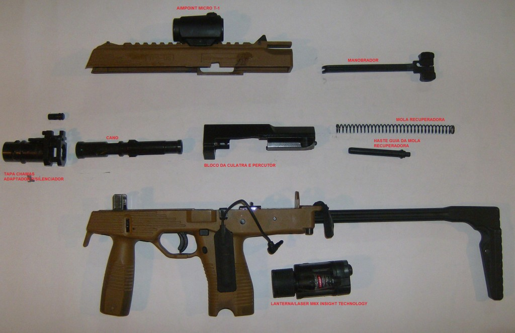 As componentes da arma que é de fácil desmonatgem/montagem e manutenção