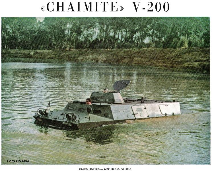 """A publicidade da Bravia destacava a sua reconhecida boa capacidade anfíbia, mesmo superior à V-100 """"commando""""."""
