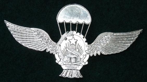 """Versão com os """"cordões abertos"""" do primeiro modelo de distintivo de qualificação pára-quedista da FAPA-DAA. (Col. António Carmo)"""