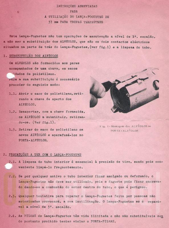 """O """"manual de instruções"""" que acompanhava a arma à saída das OGMA"""