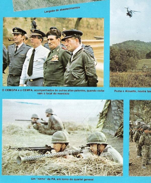 """A revista """"Mais Alto"""" na sua reportagem sobre o exercicio """"Jupíter 82"""" apresentou uma foto de elementos da Policia Aérea a fazer uso do LFoguetes."""