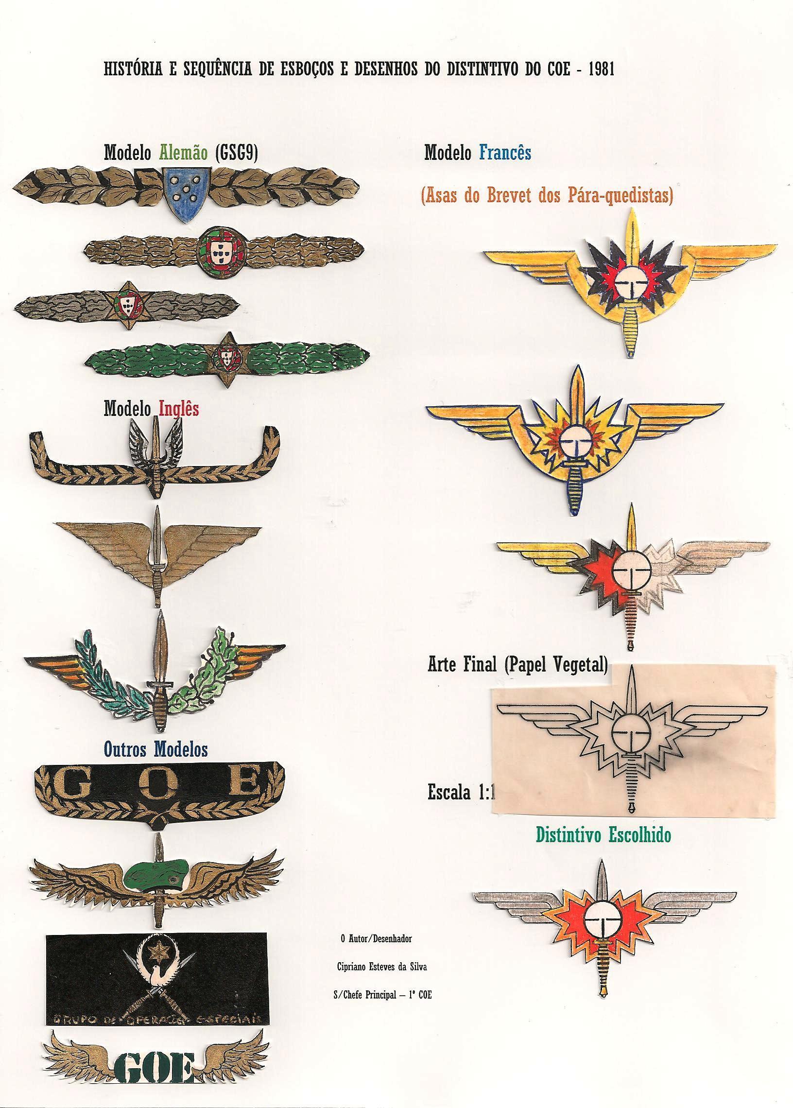 Documento histórico ilustrativo do estudo elaborado para a aprovação posterior do distintivo do COE. (Doc. de C.E.S. via autor)