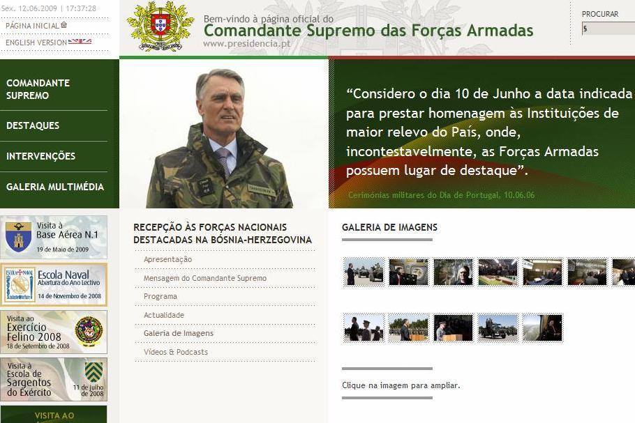 O site http://www.presidencia.pt/comandantesupremo/ tem é um espaço de consulta com muita informação sobre a actividade do Presidente nesta área e das unidades que visita