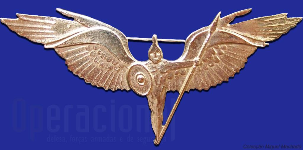 A insignia da Unidade de Protecção da Força: Ares, Deus da Guerra, representado a imponência do poder aéreo e a sua protecção.