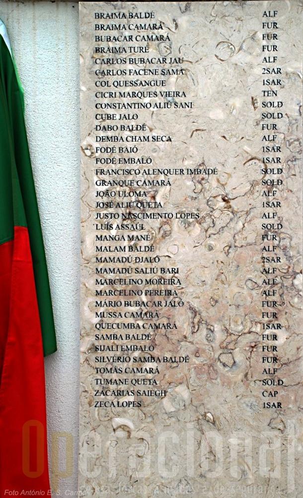 Pormenor da placa com os nomes dos militares portugueses «mortos em campanha» descerrada pelo MDN.