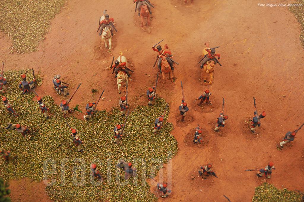 A batalha do Vimeiro está representada num diorama com centenas de figuras, ilustrando este detalhe uma carga da cavalaria britânica sobre as linhas francesas