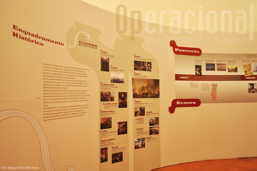 O enquadramento histórico na época, em Portugal e na Europa, com as datas e factos mais significativos insere o visitante no tema