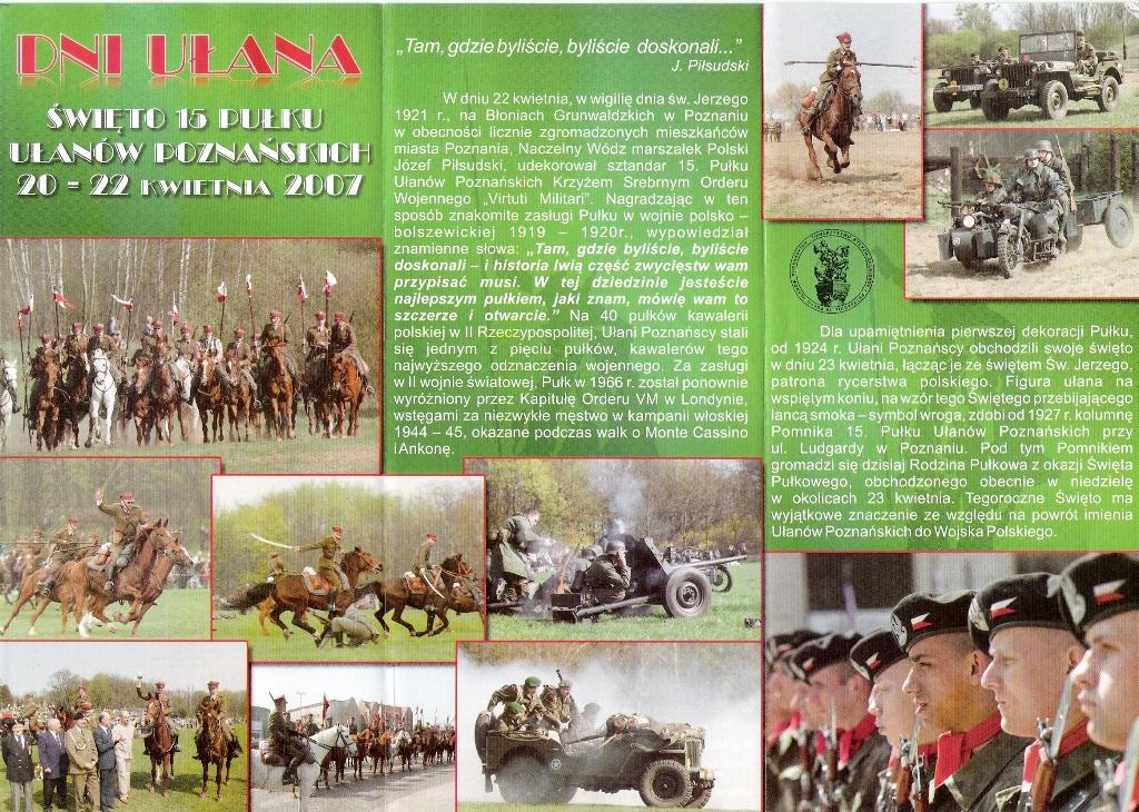 """Folheto de divulgação de um """"carrossel"""" que tem lugar em Poznan por uma associação de lanceiros que tantas tradições têm naquele país."""