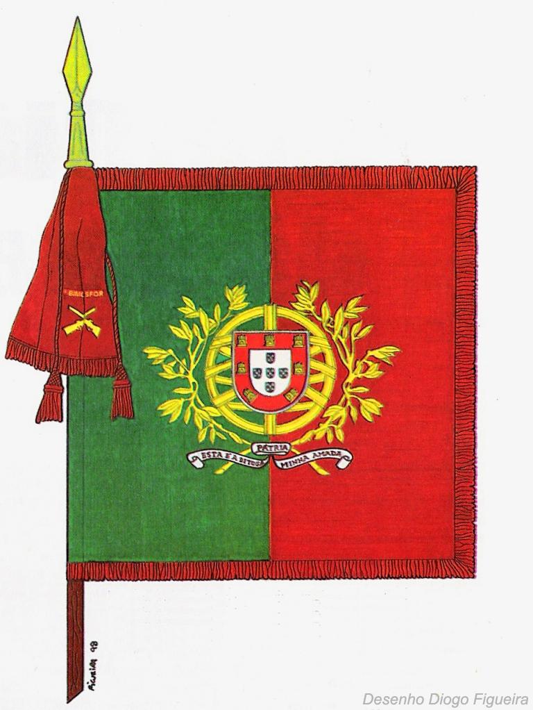 No Exercito a Bandeira Nacional, sob a forma de estandarte nacional, é quadrada, partida e cosida em proporções iguais (Decreto n.º 43/79 de 22 de Maio)