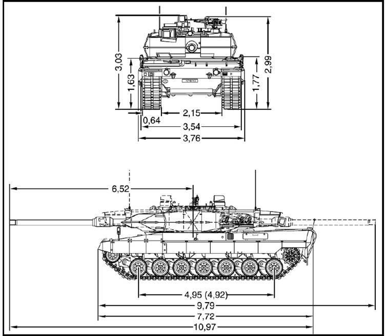 Dimensões do Leopard 2A6 (Fonte: Exército Português)