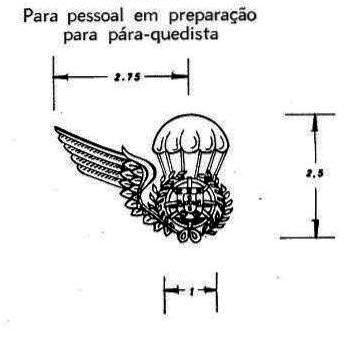 Desenho do distintivo de «alunos pára-quedistas», sem a asa esquerda, conforme previsto e aprovado no Decreto-Lei Nº 47229 de 30SET66. (Col. do Autor)