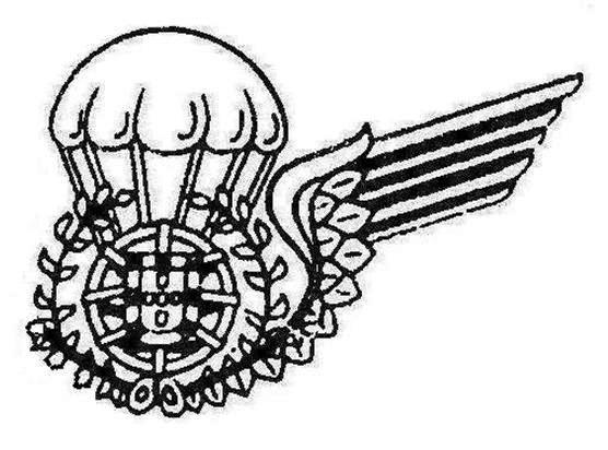 Desenho do distintivo de «alunos pára-quedistas» sem a asa direita, aprovado nas Portarias Nº 518/81 de 26JUN e 922/91 de 4SET. (Col. do Autor)