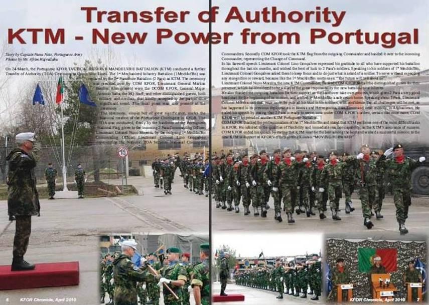 """O 1º BIMeb sob o comando do TCor Lino Gonçalves terminou 6 meses de missão no Kosovo e """"passou o testemunho"""" ao 2º BIPara."""