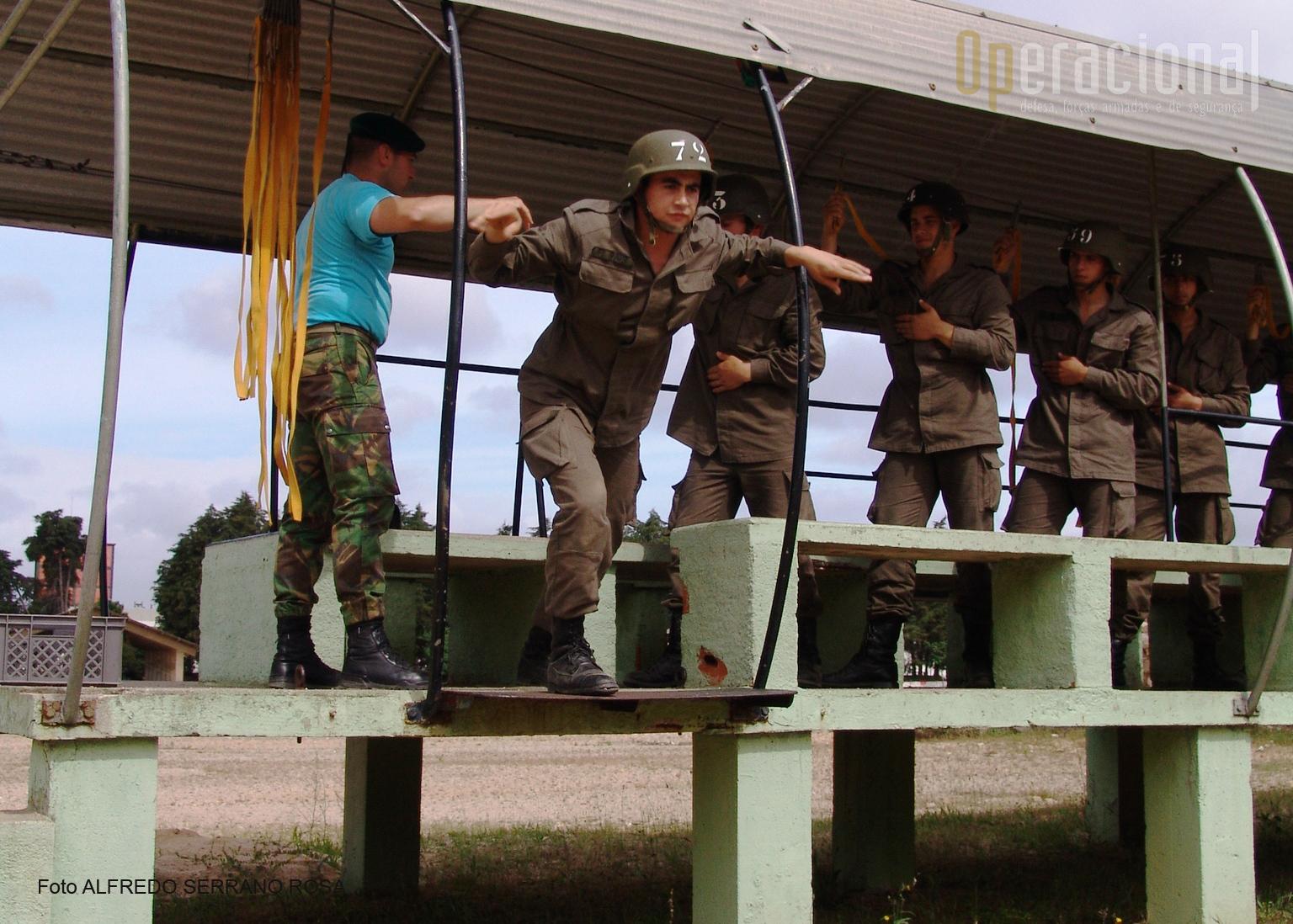 «Maquete»: aqui ensina-se a posição à porta da aeronave, a saída por patrulha  e as operações durante o voo.