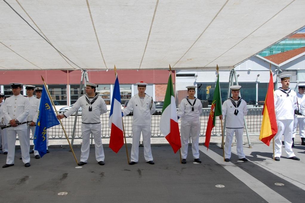 Os quatro países membros da EUROMARFOR: França, Itália, Portugal e Espanha.