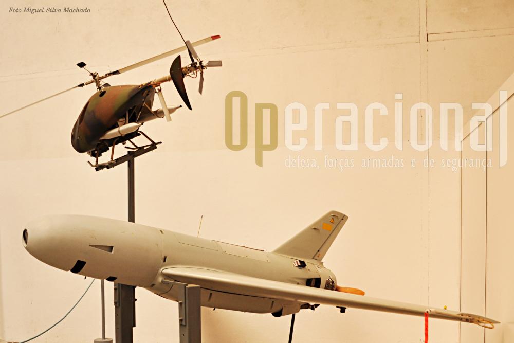 """No final da visita, um """"cheirinho"""" a modernidade: drones. Em cima o """"drone helicóptero"""" «Vigilante» da firma Techno-Sud Industrie que tem 1 hora de autonomia. Em baixo o «Crecerele», já substituido em 2004 pelo novo «Sperwer», da Sagem, que tinha autonomia de 3 horas."""