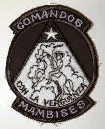 Distintivo de identificação da Organização Paramilitar «COMANDOS MAMBISES». (Col. do Autor / réplica comercializada em Miami / EUA)