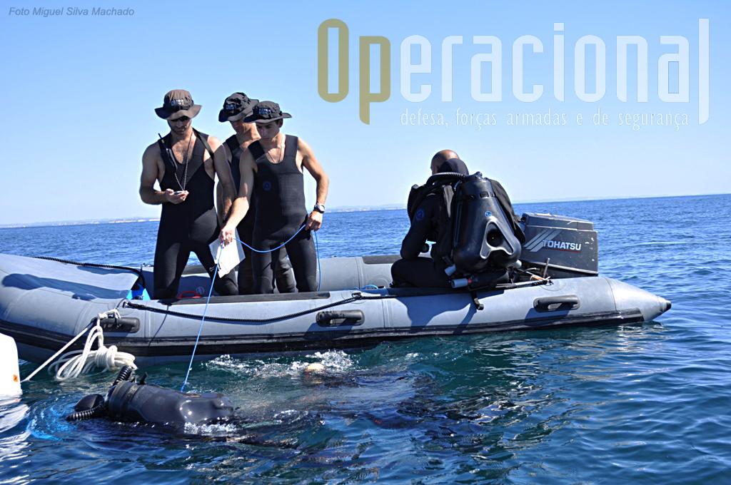 O mergulhador guia, garante o contacto através de um cabo (cor azul) e o supervisor controla as diversas acções que têm que ser realizadas.