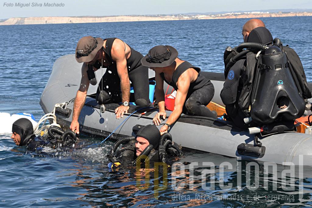 """Missão cumprida os merlgulhadores vão retirar o equipamento com a ajuda do """"supervisor"""" e do """"guia""""."""
