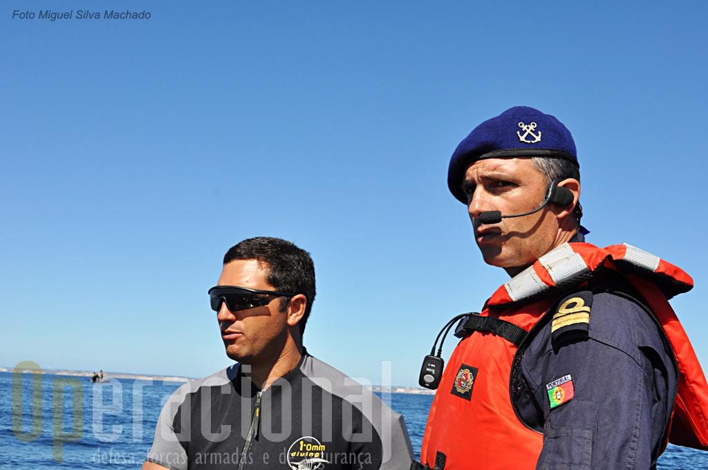 O Capitão-Tenente Duarte Conceição, comandante do Agrupamento de Mergulhadores, foi o responsável pelo exercicio.