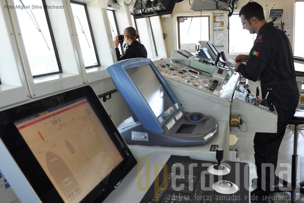 Ponte de comando do NRP Almirante Gago Coutinho navio muito importante no apoio a missões militares e de âmbito civil em áreas científicas e da defesa do ambiente marinho.
