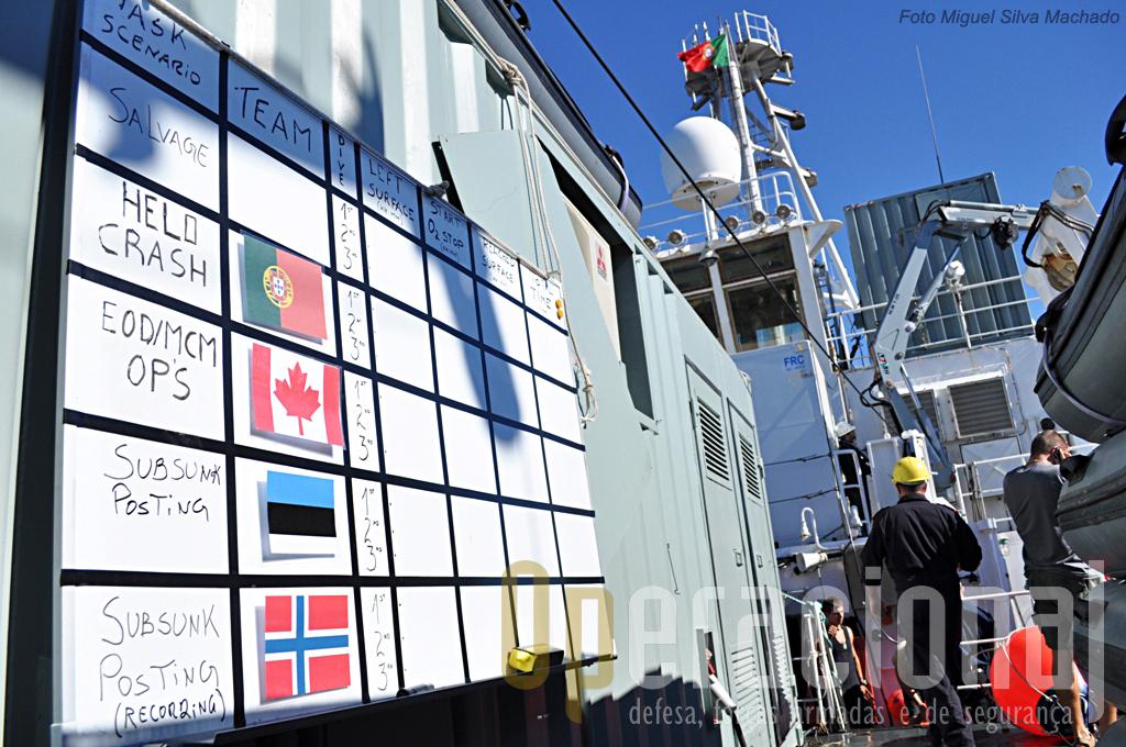 """Mais um dia de mergulho está prestes a começar a bordo do """"Almirante Gago Coutinho"""",e as diversas estações vários cenários estão montados."""