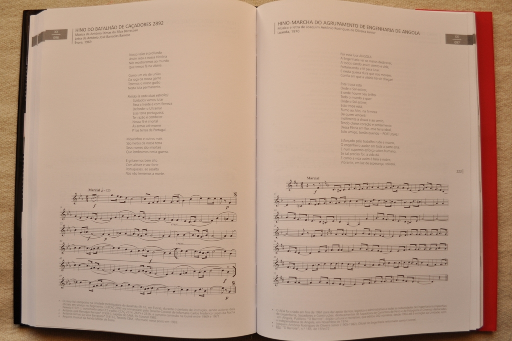 O cpro da obra apresenta, regra geral, os hinos (musica e letra), nome do hino, autores, datas e notas explicativas.