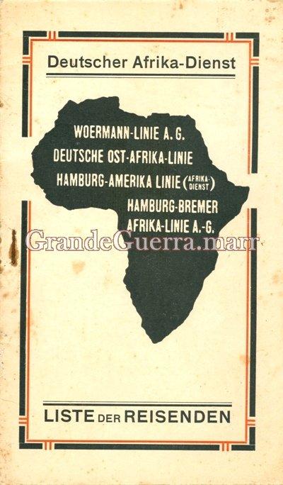 """Programa de viagem do navio alemão """"Ussukuma"""" (Colecção particular)"""