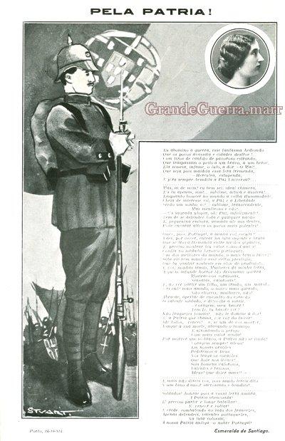 """""""Pela Pátria"""" - Poema de Esmeralda Santiago Ilustração de Stuart Carvalhais In: Ilustração Portuguesa n.º 456 de 16 de Novembro de 1914 (Colecção particular)"""