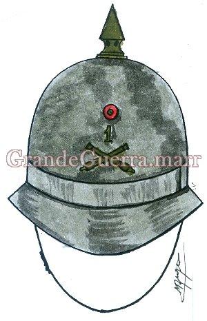 Igual ao dos soldados, tendo além do laço Nacional os emblemas ou números em metal oxidado.