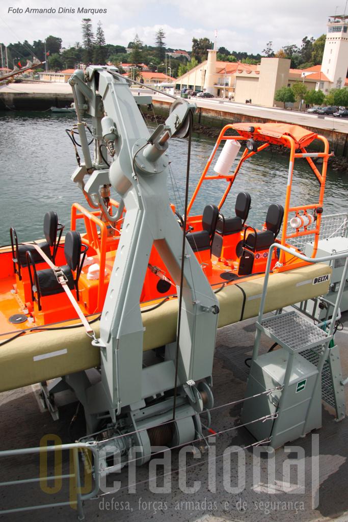 """O sistema designado por """"turco"""", permite a colocação muito rápida da embarcação na água."""