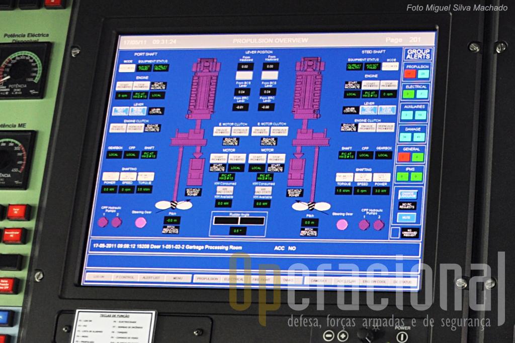 O monitor do sistema de comando e controlo que nos mostra os dois motores diesel, os dois eléctricos e os helices.