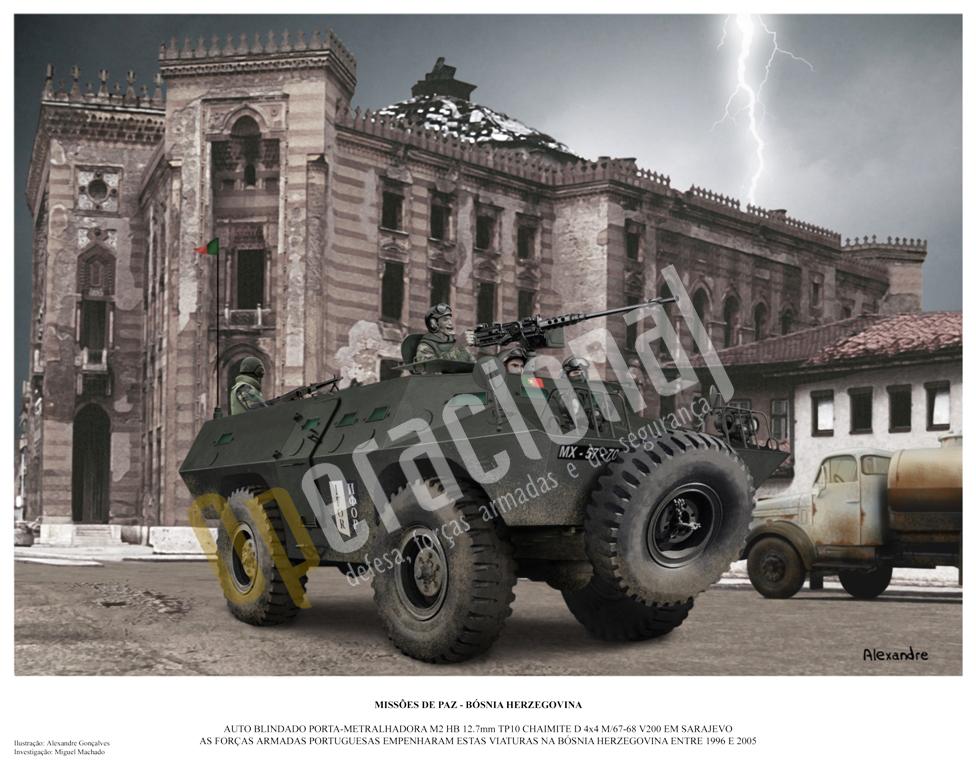 """Chaimite V-200 em Sarajevo. A Bósnia-Herzegovina foi o teatro de operações em que Portugal utilizou maior número destas viaturas de fabrico nacional, em toda a sua história que já leva 40 anos de serviço (a ilustração a enviar não terá naturalmente o logotipo """"Operacional"""")."""