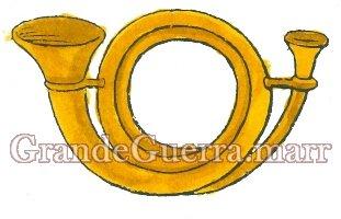 Uma trompa bordada a ouro, colocado na platina direita