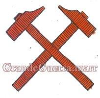 Dois martelos cruzados em pano vermelho, colocam-se nas duas platinas