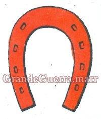 Uma ferradura em pano vermelho, nas duas platinas