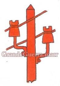 Um poste telegráfico em pano vermelho colocado nas duas platinas e por debaixo das divisas