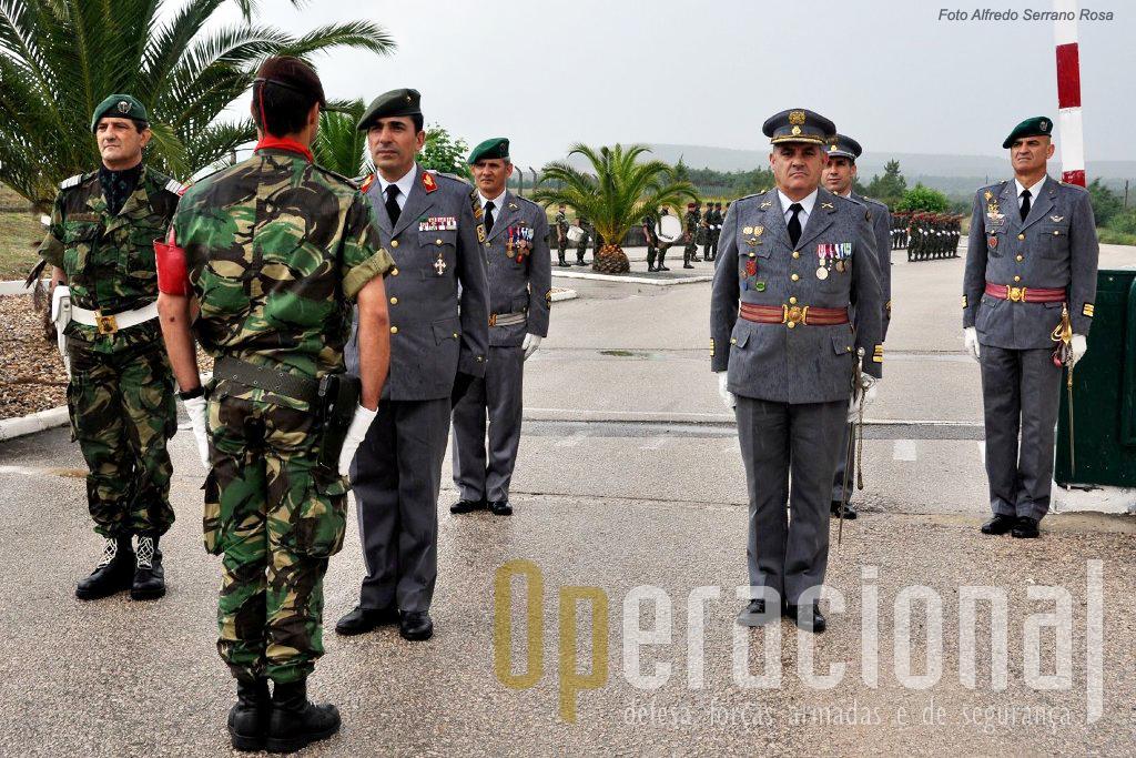 Na chegada ao Aerodromo Militar de Tancos, onde se encontra o Comando da BrigRR, o novo comandante recebe a apresentação do Oficial de Dia.
