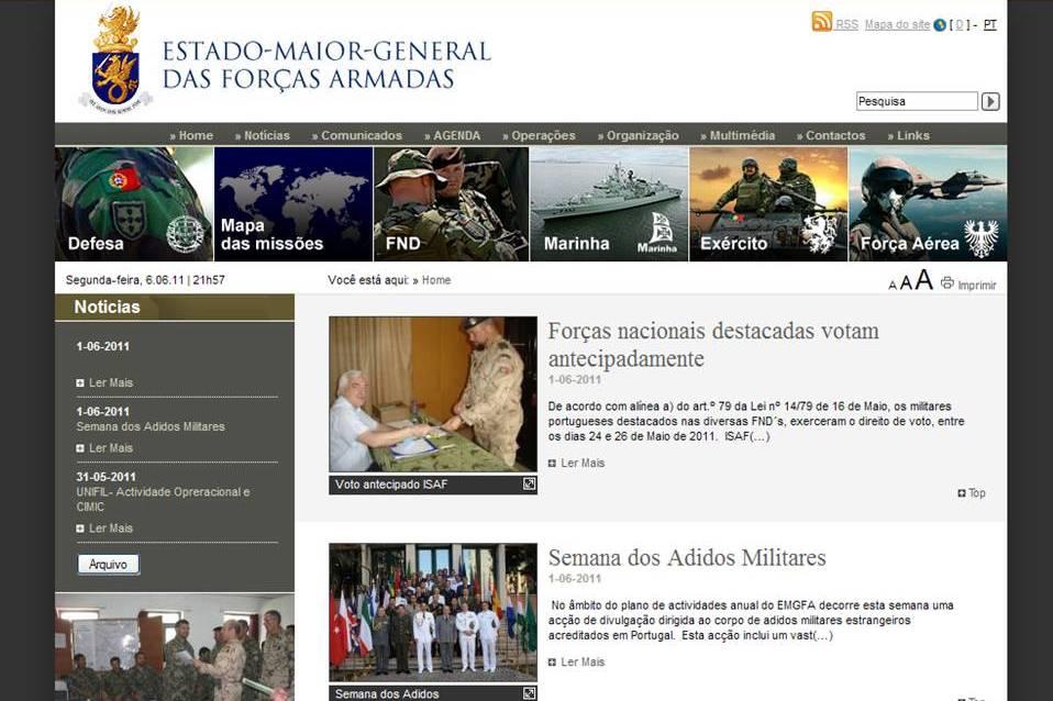 A comunicação directa do CEMGFA com a opinião pública de um modo institucional está agora limitada aos conteúdos da página na internet do EMGFA.