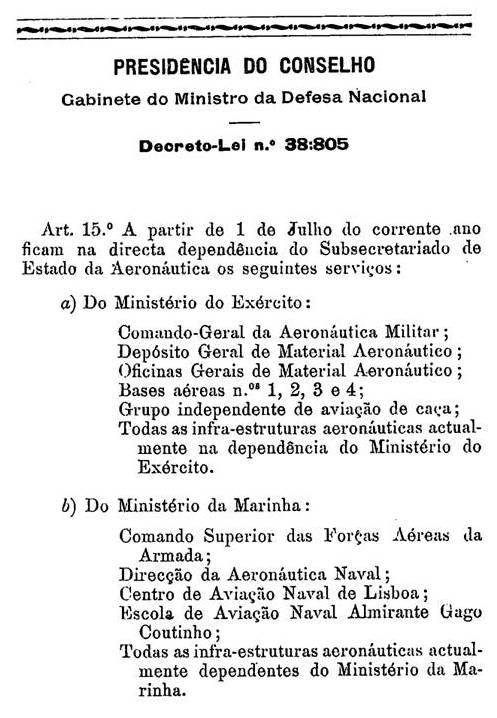 """Em 1952 o """"Estado Novo"""" decidiu acabar com duplicações na área da aviação e determinou aquilo que hoje se comemora em 1 de Julho: o nascimento da Força Aérea Portuguesa como Ramo independente das Forças Armadas."""