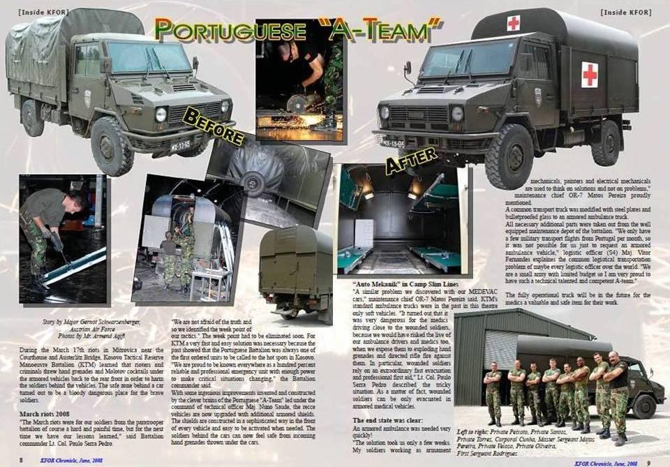 """Ao constatarem em Mitrovica que as suas ambulâncias não dispunham de segurança superior, os páras trataram de """"chapear"""" uma. Pelo menos passou a proteger dos muitos objectos que são arremeçados nestas ocasiões (Revista da KFOR , Juho 2008)."""