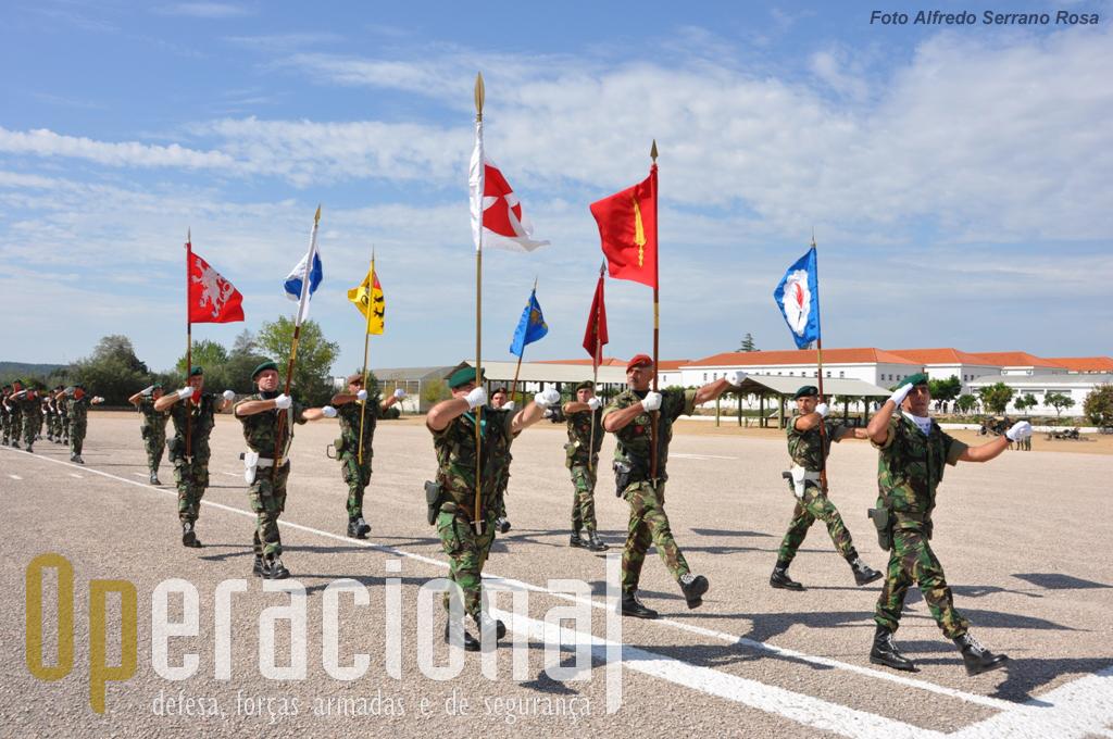"""Bloco de Guiões Heráldicos das """"Unidades Territorias"""" da Brigada de Reacção Rápida."""