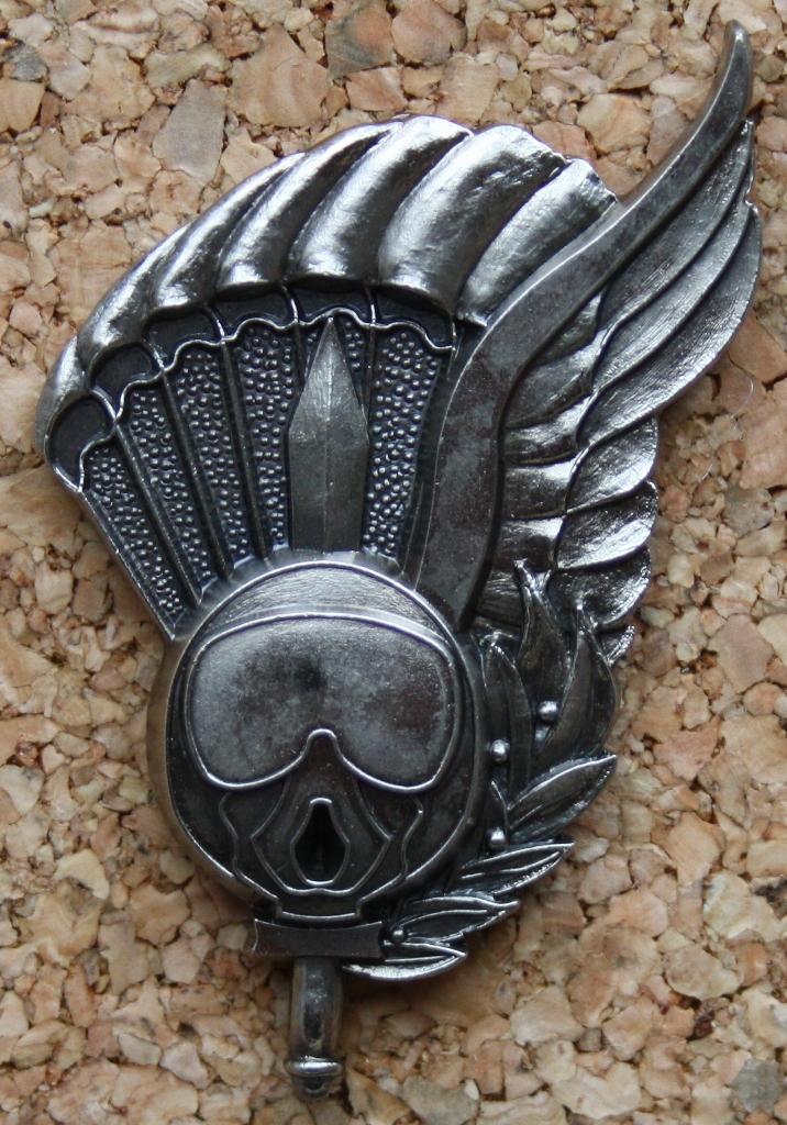 Versão metálico do distintivo de qualificação «CHEFE DE SALTO». (Col. Sucena do Carmo)