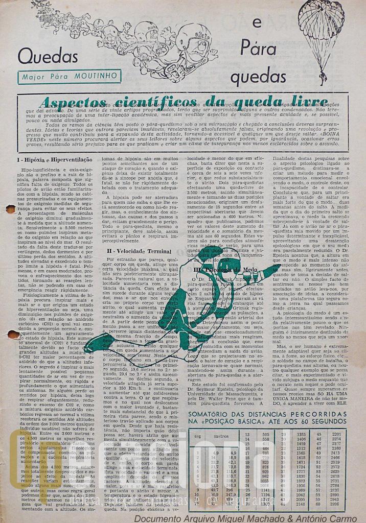 """Bragança Moutinho além de praticante da queda-livre, era estudioso da temática e seu divulgador. Publicou muitos artigos técnicos sobre o assunto, como este no Jornal """"Boina Verde"""" do Batalhão de Caçadores Pára-quedistas N.º 21 (Angola), e o livro """"Histórias e Técnicas do Pára-quedismo""""."""