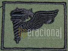 Versão em pano, bordada, do distintivo de qualificação do Curso de «PRECURSOR AEROTERRESTRE» para uso no uniforme camuflado. (Col. Sucena do Carmo)
