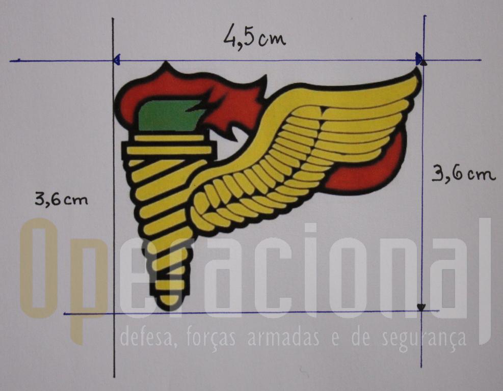Desenho gráfico colorido do atual distintivo de qualificação do Curso de «PRECURSOR AEROTERRESTRE». (Col. Sucena do Carmo)